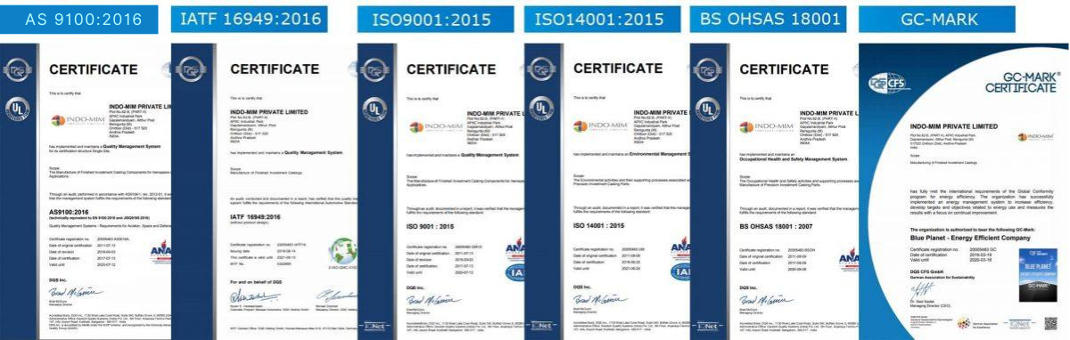 Investment casting certifications