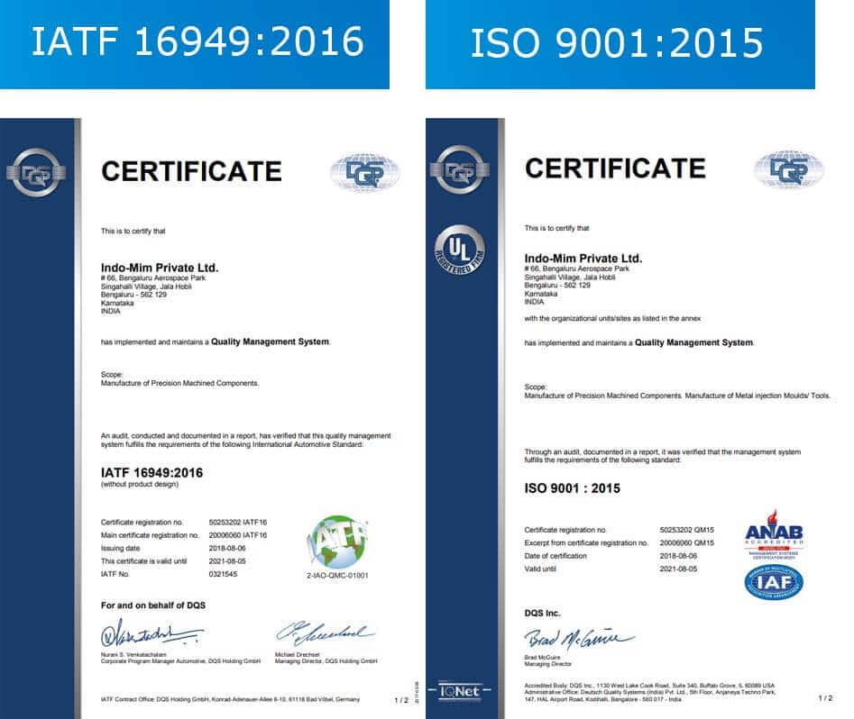 Metal injection molding certificates