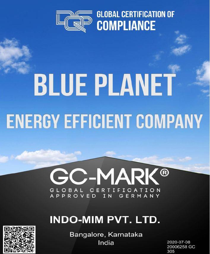 Energy Efficient Company Certificate Indo-MIM