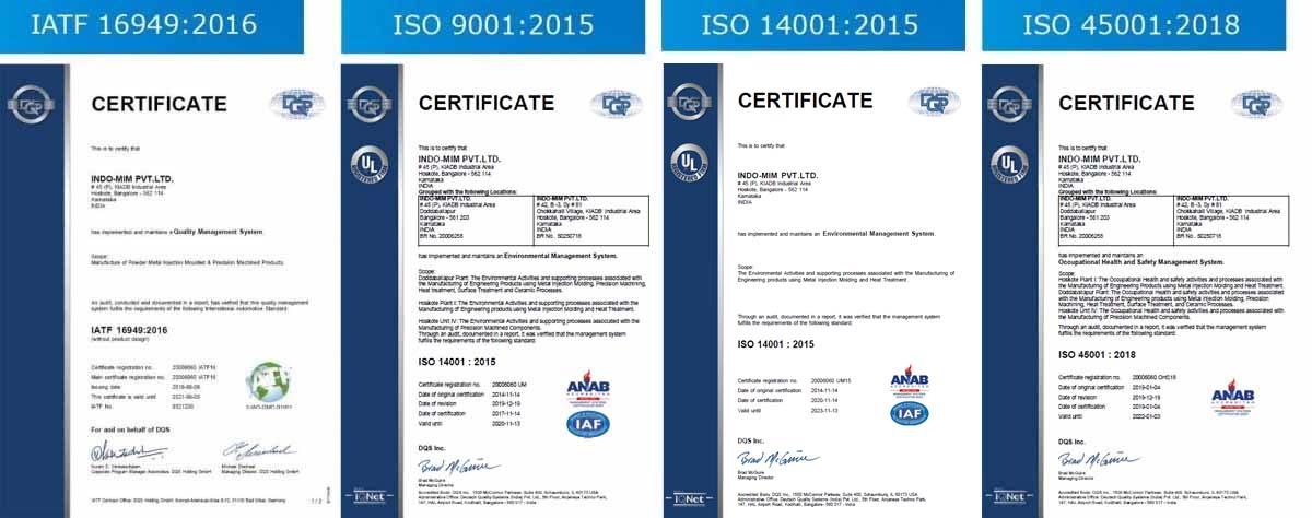 MIM company certificates Hoskote