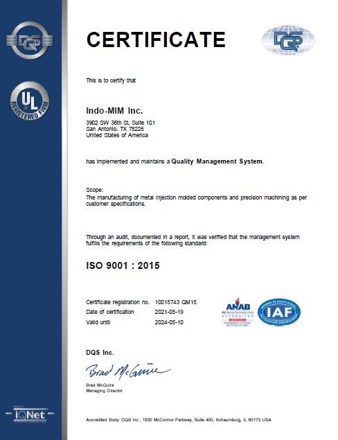 ISO 9001 2015 USA Inc